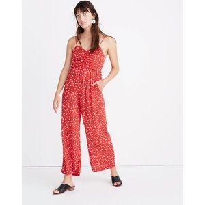 Madewell Prairie Roses Ruched Wide Leg Jumpsuit